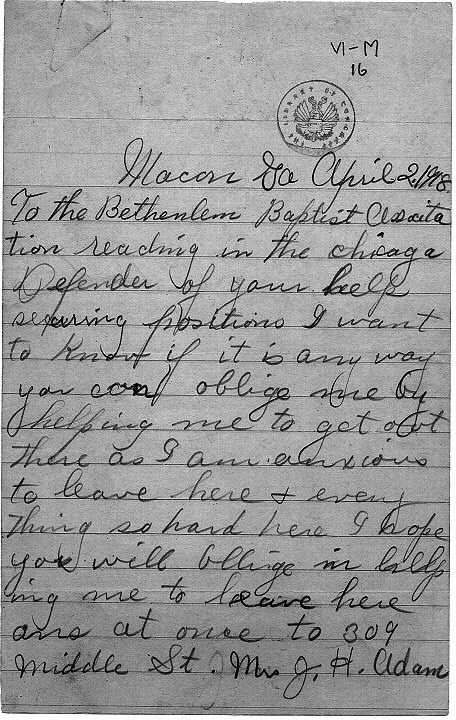 Letter from Mrs. J. H. Adams to the Bethlehem Baptist Association in Chicago, 1918.
