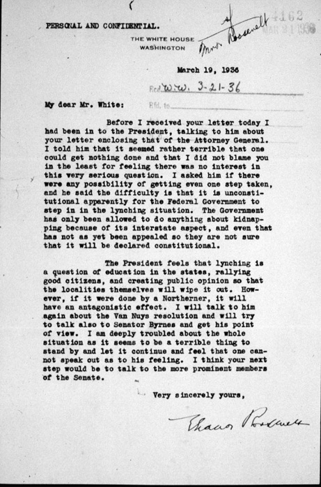 Eleanor Roosevelt's letter to NAACP's Walter White on lobbying against lynchings, March 19, 1936.