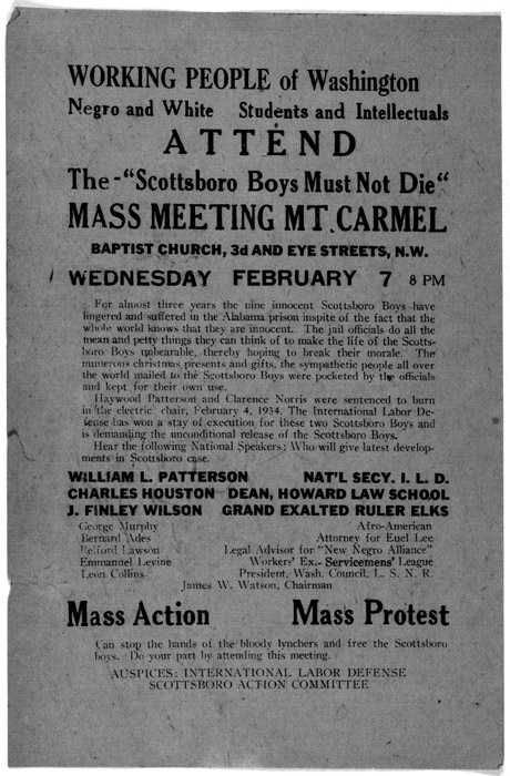 Flyer for organizing meeting to protest the Scottsboro boys' conviction (February 7, 1934).