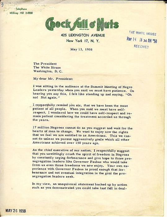 Robinson's letter to President Eisenhower (Slide 1).