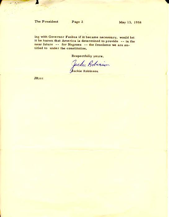 Robinson's letter to President Eisenhower (Slide 2).