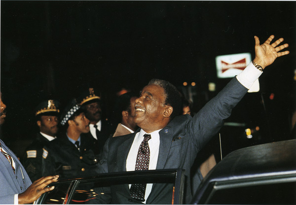 Harold Washington was elected first African American mayor of Chicago on April 12, 1983.
