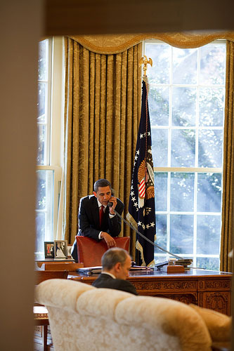 President Barack Obama calls Senators from the Oval Office.