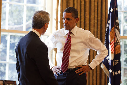 President Barack Obama with Chief of Staff Rahm Emanuel in the Oval Office 2/5/09.
