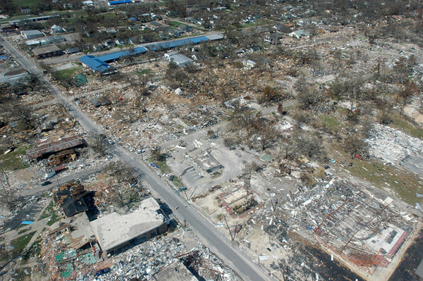 Destroyed houses in Gulfport, Mississippi.